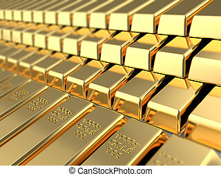 golden bars - 3d illustration of golden bars background
