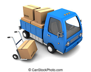 truck with cardboard boxes - 3d illustration of truck with...