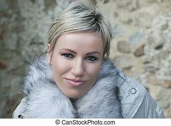 Portrait of a blonde woman close up - Portrait of a...