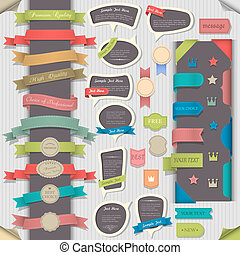 Big set retro design elements and speech bubbles. Vector...