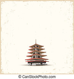 Japanese pagoda on grunge background. Vector EPS10