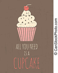Retro Cupcake Poster - Vintage style poster with cupcake
