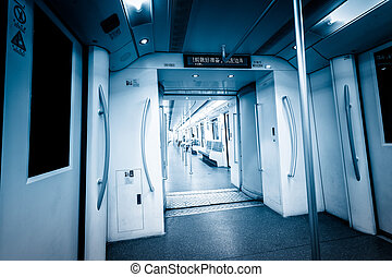interior of subway train - background of the rushing subway...