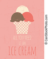 Retro Ice Cream Poster - Vintage style poster with ice...