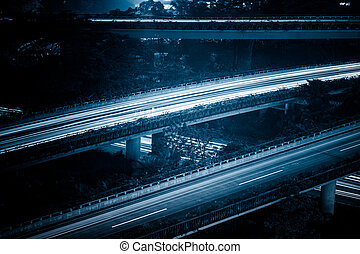 overpass in night of city