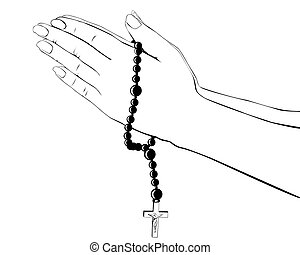 hands with a rosary - drawing hands with a rosary on a white...