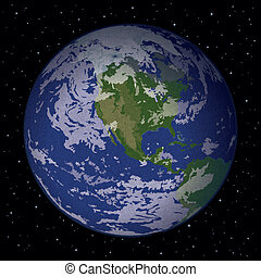 Planet Earth in space - Space background, realistic planet...