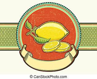 Fresh lemons .Vector vintage fruits on old background