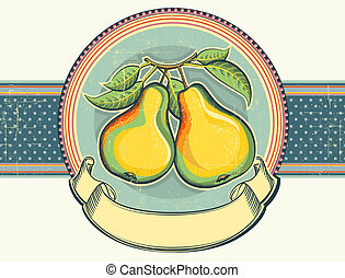 Pears vintage label illustration on old paper.Vector background