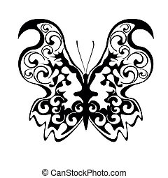 Black openwork butterfly on a white background, vector