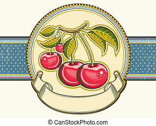 Red cherries background.Vector vintage label on old paper textur