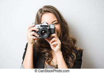 lindo, fotógrafo, joven