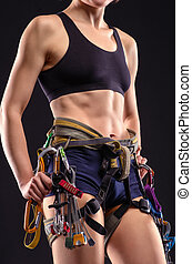 female body in climbing equipment - beautiful female body in...