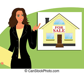 "Girl realtor shows a house with a sign ""for sale"""