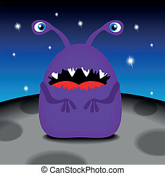Funny monster on his planet, vector illustration