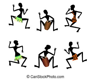Funny dance of black people, vector illustration