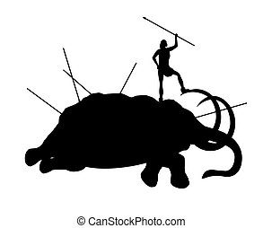 Ancient people killed mammoth isolated on a white...