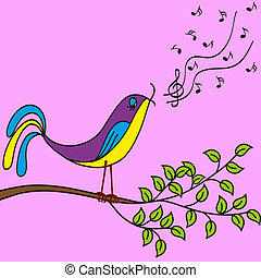 Bird on a branch singing songs, vector