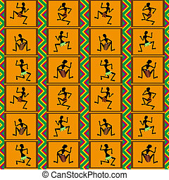 Seamless pattern - dance of people