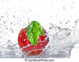 Apple with water splash isolated on white
