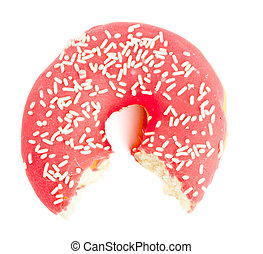 Half eaten red Donut with sugar sprinkles - Single red sugar...
