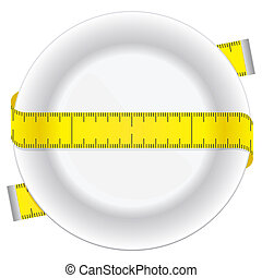 Diet plate - Measuring tape and plate as a conceptual diet...