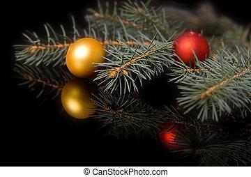 Christmas decorations on black - Colorful christmas...