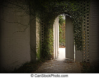 Ivy gateway - Morning light enters through an ivy gateway