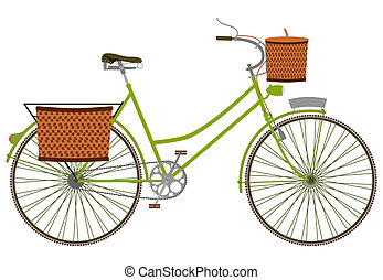 Retro bicycle - Silhouette of an old bicycle with basket.