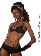 nő, fekete, afrikai
