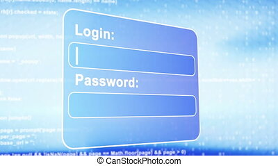 web page login animation - login ui form. Computer generated...
