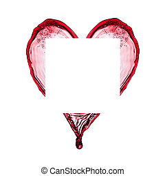 Colored splash heart isolated on white background