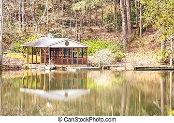 Boathouse on Calm Lake