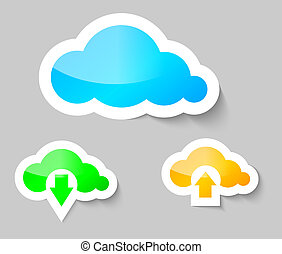 Cloud, download and upload from cloud stickers - Cloud,...