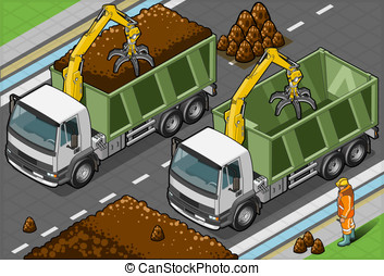 Isometric Containers Trucks with Arm in front view