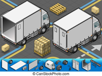 isometric container refrigerator truck in rear view -...
