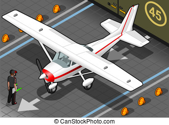 Isometric White Plane in Front View - Detailed illustration...
