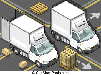 Isometric White Refrigerator Van in Front View - detailed...