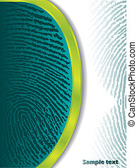 Fading fingerprints on turquoise and white background