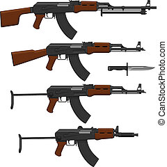 Assault rifles - Layered vector illustration of different...