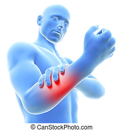 Man having pain in the arm - 3d rendered illustration of a...