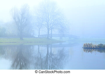 dense fog over lake