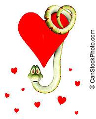 caricatura, serpiente, amor, ahorcadura, corazón