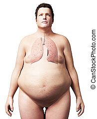 Overweight man - lung - 3d rendered illustration of an...