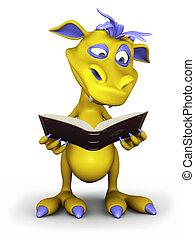 Cute cartoon monster reading a book.