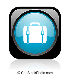 baggage black and blue square web glossy icon