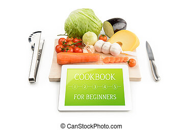 Concept of cookbook for beginners on the tablet computer...