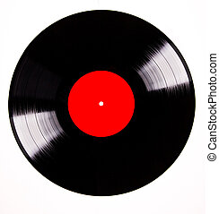 Vinyl disc over white background