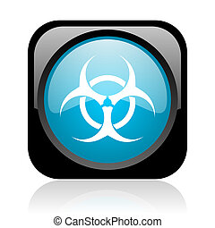 virus black and blue square web glossy icon