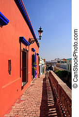 Elevated pathway in Mazatlan - Elevated brick walkway with a...